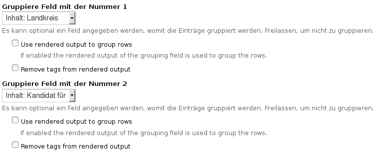 Gruppierungen in Views